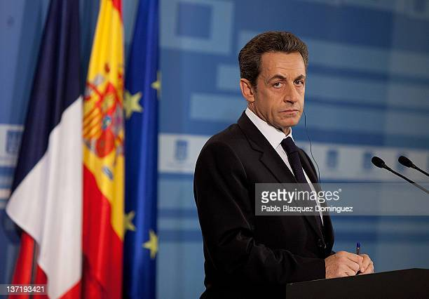 French President Nicolas Sarkozy talks at a press conference in the Moncloa Palace on January 16 2012 in Madrid Spain Sarkozy is in Madrid to receive...