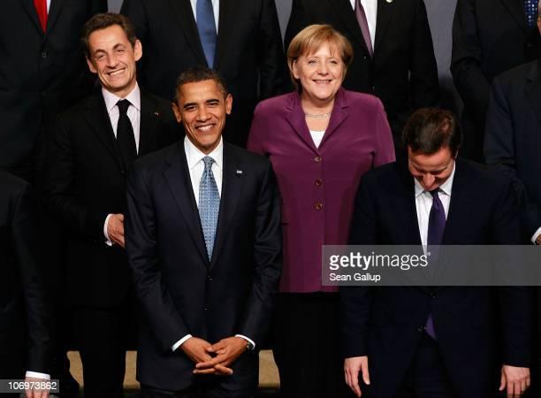 French President Nicolas Sarkozy US President Barack Obama Germany's Chancellor Angela Merkel and British Prime Minister David Cameron attend the...