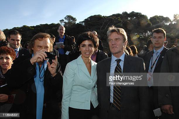 French President Nicolas Sarkozy visits the antique site of Tipaza Algeria On December 04 2007Director Alexandre Arcady French Minister of Justice...