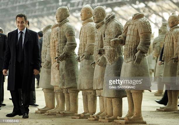 French President Nicolas Sarkozy Visits The Site Of The Buried TerraCota Warriors In Xian Xianyang China On November 25 2007