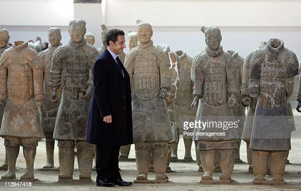French President Nicolas Sarkozy visits the site of the Buried Terracota Warriors near Xian China On November 25 2007
