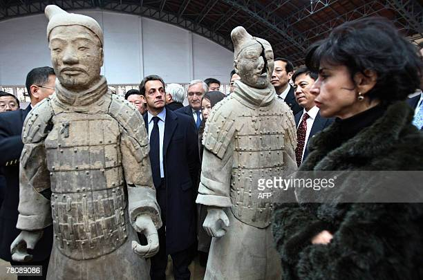French President Nicolas Sarkozy visits the site of the buried Terracotta Warriors with Minister for Justice Rachida Dati 25 November 2007 in the...