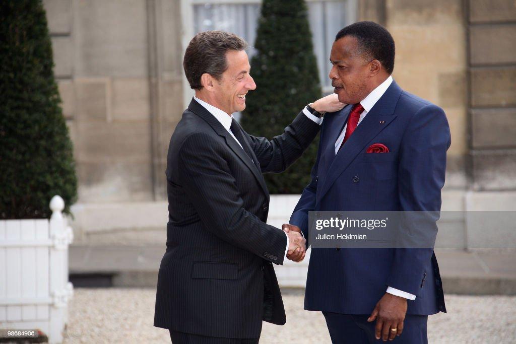 Republic of Congo President Denis Sassou N'Guesso Meets Nicolas Sarkozy