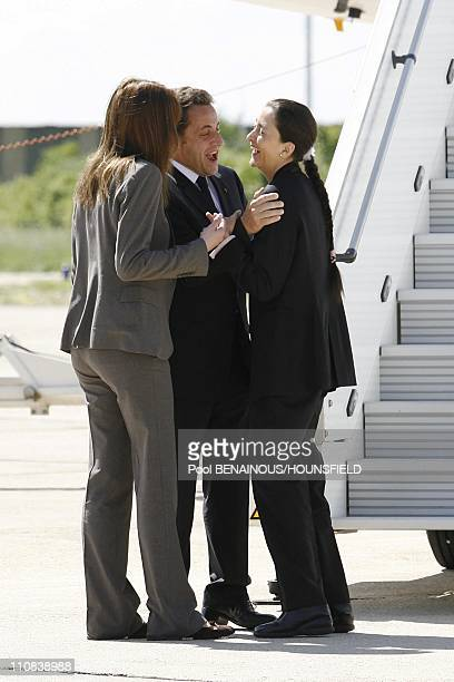 French President Nicolas Sarkozy Welcomes Ingrid Betancourt At Villacoublay Airport, In Villacoublay, France On July 04, 2008 - Ingrid Betancourt,...