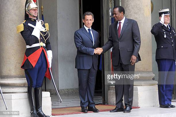 French President Nicolas Sarkozy welcomes President of Burkina Faso Blaise Compaore at the Elysee Palace on July 13, 2010 in Paris, France. Fifty...