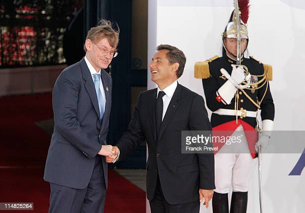 French President Nicolas Sarkozy welcomes President of the World Bank Robert Zoellick to day two of the G8 Summit on May 27 2011 in Deauville France...