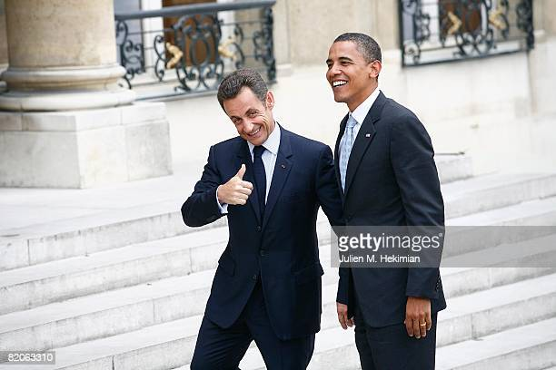 French president Nicolas Sarkozy welcomes Presumptive U.S. Democratic presidential candidate Sen. Barack Obama at Elysee Palace on July 25, 2008 in...