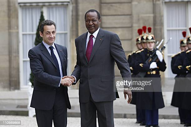 French President Nicolas Sarkozy with Blaise Compaore, the President of Burkina Faso in Paris, France on March 07th, 2008.