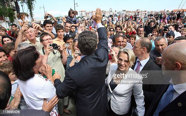 French President Nicolas Sarkozy with fishermen aboard a tuna boat in the French Basque city In Ciboure France On August 24 2007French president...