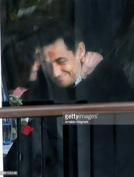 French President Nicolas Sarkozy with wife Carla Bruni are seen at the Boat House in Central Park on March 28 2010 in New York City