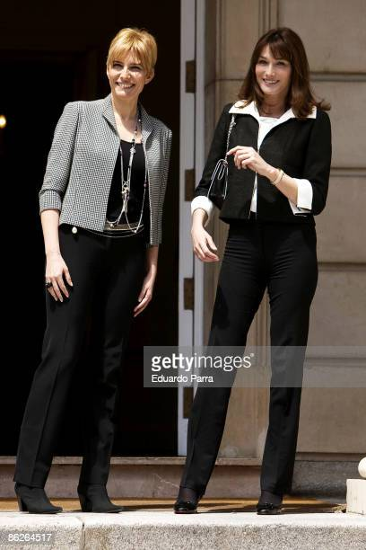 French President Nicolas Sarkozy's wife Carla BruniSarkozy meets with Spanish Prime Minister Jose Luis Rodriguez Zapatero's wife Sonsoles Espinosa at...