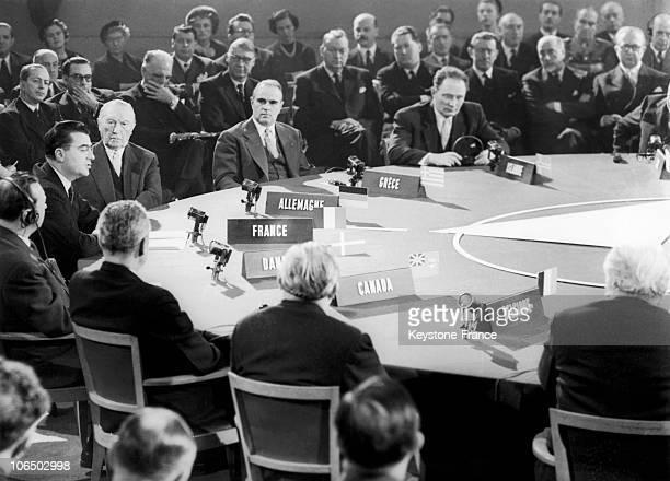 French President Of The Council Felix Gaillard The German First Chancellor Konrad Adenauer And The Greek Prime Minister Konstantinos Karamanlis...