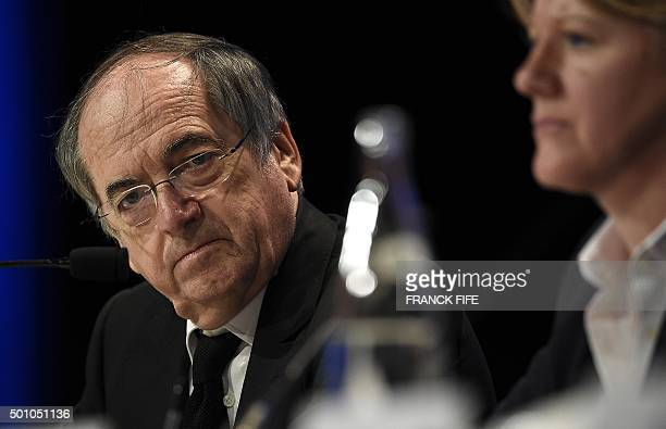 French president of the French Football Federation Noel Le Graet attends the FFF Federal Assembly in Paris on December 12 2015 The announcement by...
