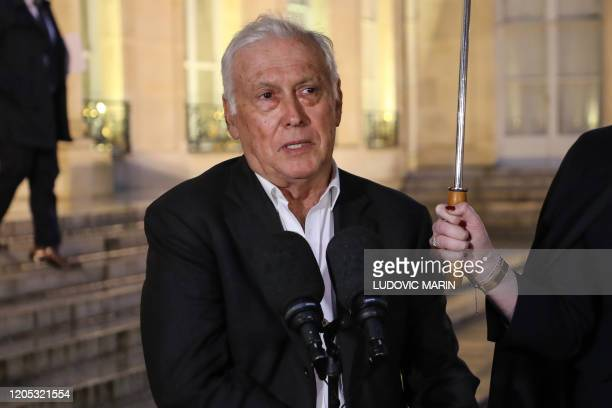 French President of the French National Ethics Advisory Committee and head of the network REACTing JeanFrançois Delfraissy speaks to the press after...