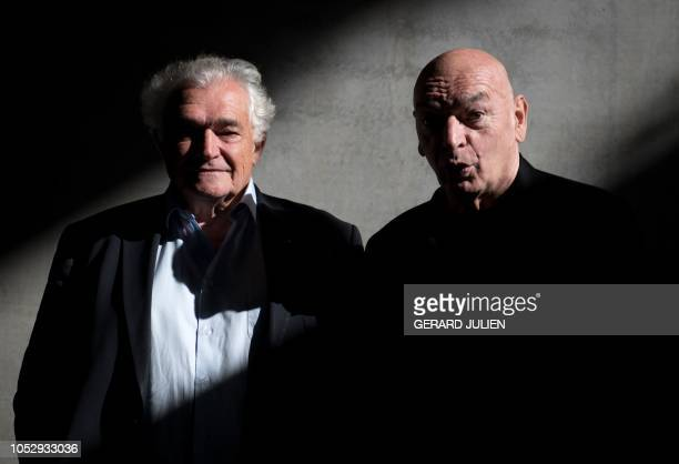 French president of the group Constructa Marc Pietri and French architect Jean Nouvel pose during a press visit of La Marseillaise tower in Marseille...