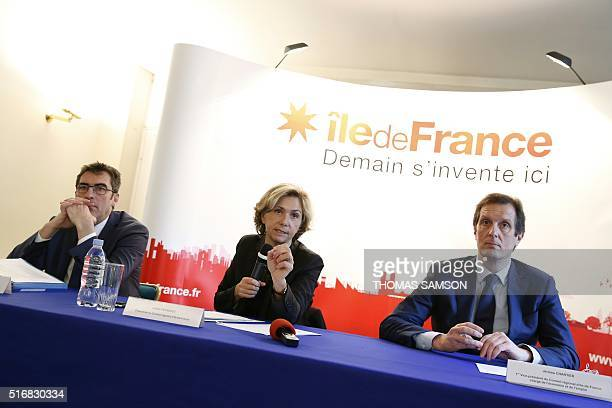 French president of the Ile-de-France Region Valerie Pecresse gives a press conference on unemployment and training programs, with the region's first...