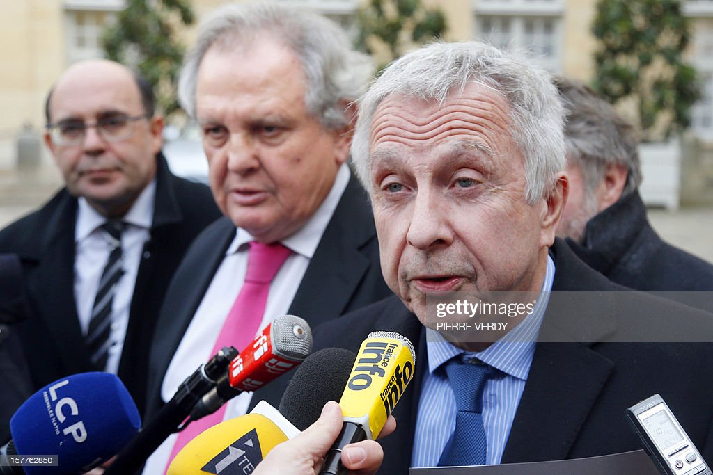 French president of the Lorraine region, Jean-Pierre Masseret, speaks to the press after a meeting at the Hotel Matignon with French Prime Minister Jean-Marc Ayrault focused on the ArcelorMittal plant of Florange, on December 6, 2012 in Paris.