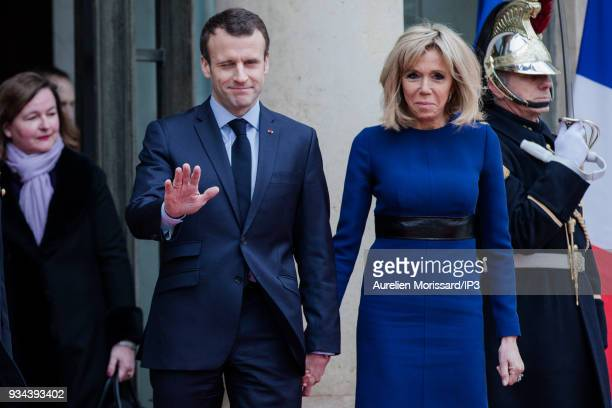 French President of the Republic Emmanuel Macron and his wife Brigitte attend the Grand Duke and the Grand Duchess of Luxembourg at the Elysee Palace...