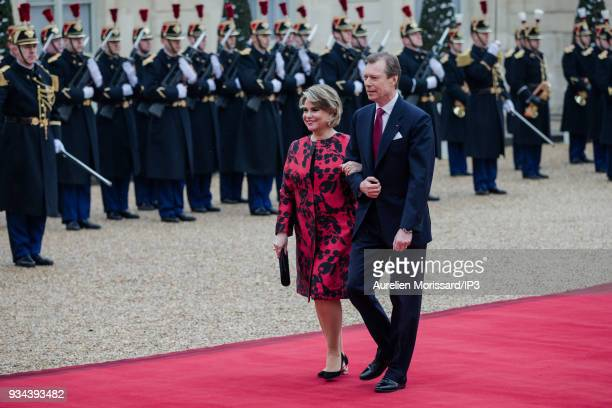 French President of the Republic Emmanuel Macron and his wife Brigitte welcome the Grand Duke and the Grand Duchess of Luxembourg at the Elysee...
