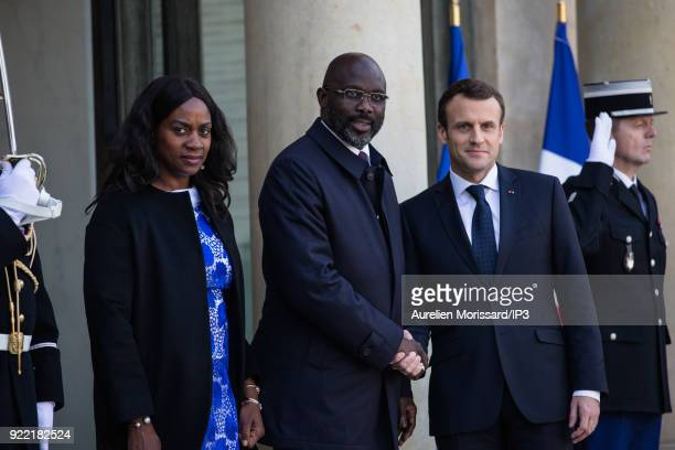French President of the Republic Emmanuel Macron welcomes the new President of the Republic of Liberia George Weah at the Elysee Palace for a meeting...