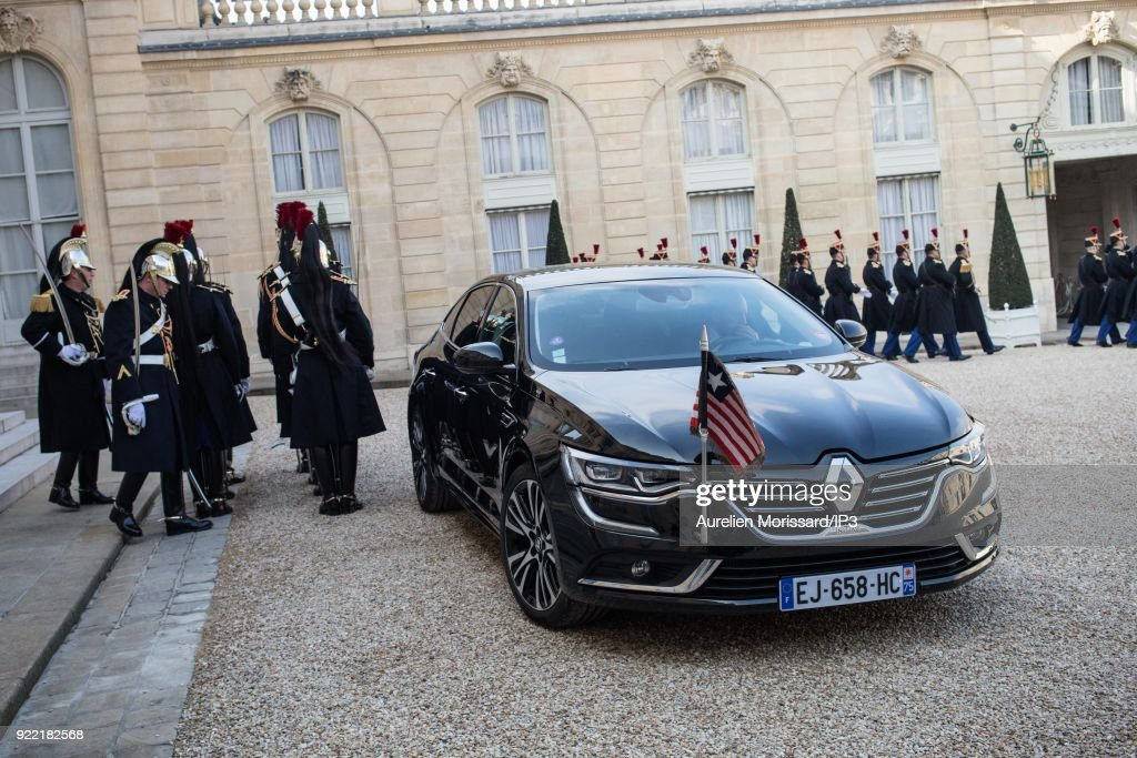 French President Emmanuel Macron Receives George Weah, President Of Liberia At Elysee Palace In Paris : News Photo
