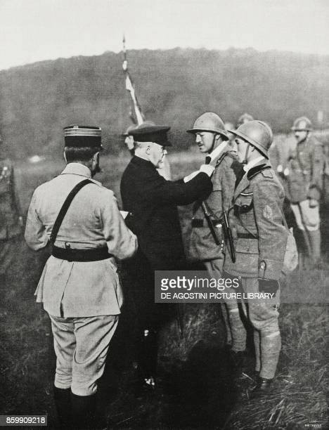 French President Raymond Poincare handing over the war cross to the officers of an assault battalion France World War I from l'Illustrazione Italiana...
