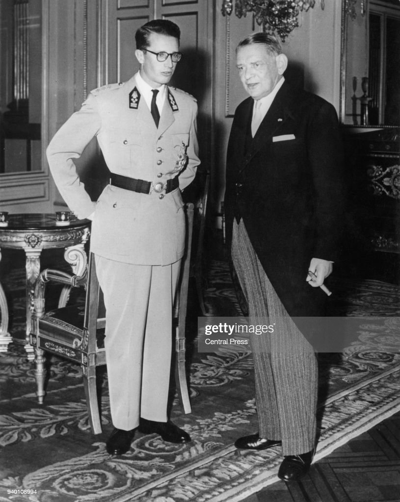 French President René Coty with King Baudouin of Belgium (1930 - 1993, left) at the Royal Palace in Brussels, during an official visit to Belgium, 9th July 1958.