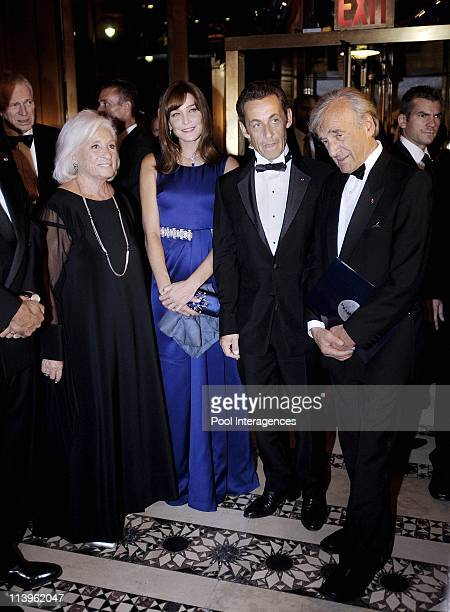 French President Sarkozy and First Lady Attend The Elie Wiesel Fondation Dinner In New York United States On September 21 2008 Marion Wiesel Carla...