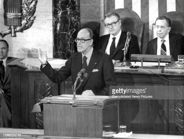 French President Valery Giscard d'Estaing addresses a joint session of Congress in the House Chamber at the US Capitol, Washington DC, May 18, 1976....