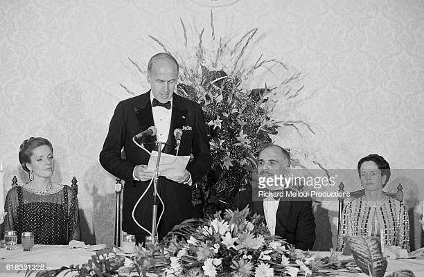 French President Valery Giscard d'Estaing and his wife First Lady AnneAymone Giscard d'Estaing visit King Hussein and his wife Queen Noor of Jordan...
