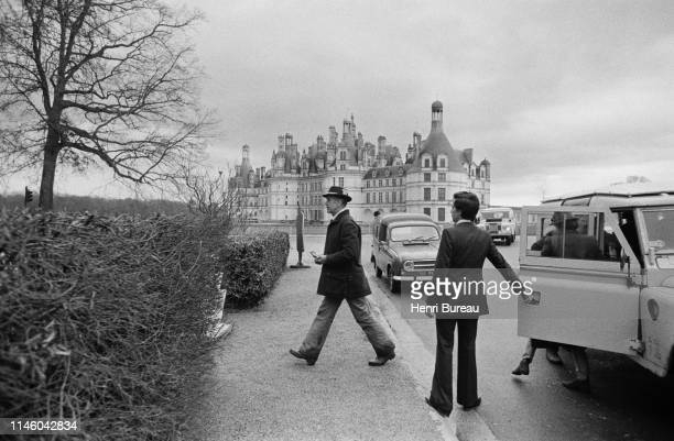 French President Valery Giscard d'Estaing arrives at the Chateau de Chambord to participate in his favorite sport: hunting, 12 Feb 1977, Chambord,...