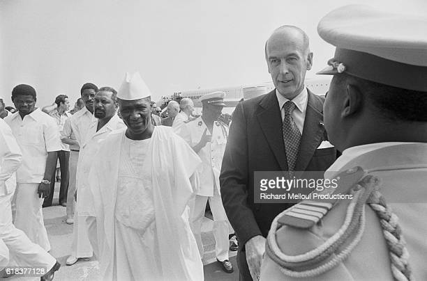 French President Valery Giscard d'Estaing arrives for an official visit to Guinea He was welcomed by Guinea President Ahmed Sekou Toure upon his...