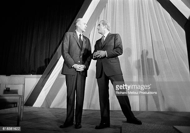 French president Valery Giscard d'Estaing chats with Minister of Justice Alain Peyrefitte while campaigning for reelection in the 1981 presidential...