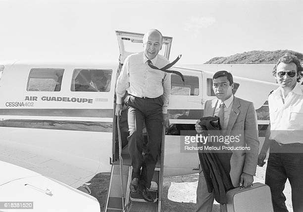 French President Valery Giscard D'Estaing exits an Air Guadeloupe Cessna 402 aircraft upon his arrival on St. Barthelemy, Guadeloupe, in the French...