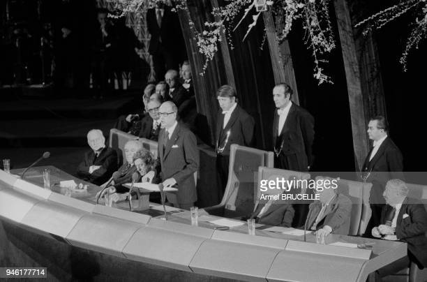 French President Valery Giscard d'Estaing in Strasbourg to inaugurate premises of new headquarters of European Parliament, 27th January 1977