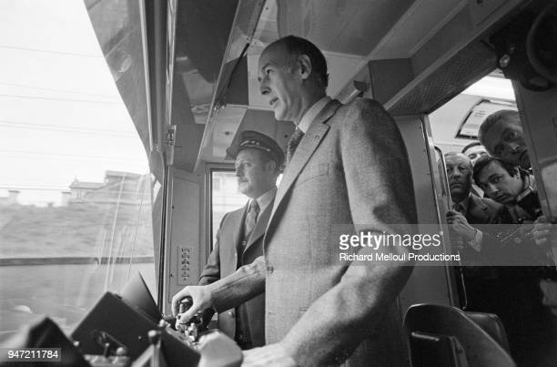 French President Valery Giscard d'Estaing inaugurates the latest line of the supermetro the RER in Paris 8th December 1977
