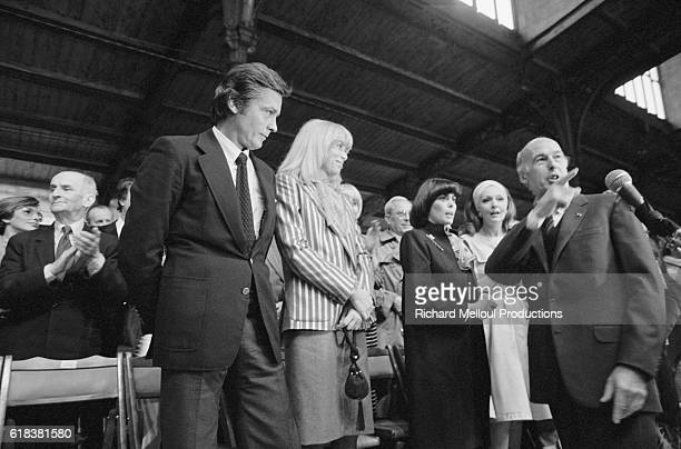 French president Valery Giscard d'Estaing is shown support by prominent French actors during a campaign rally at the Porte de Pantin Pavilion in...