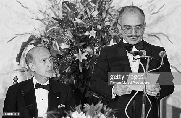 French President Valery Giscard d'Estaing listens as King Hussein of Jordan gives a speech during the French President's visit to Amman King Hussein...