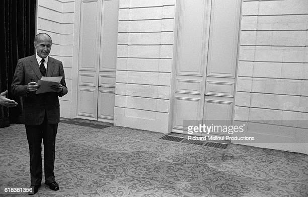 French President Valery Giscard d'Estaing prepares to give a speech in Paris after having attended a press conference on the theme 'French Citizens...