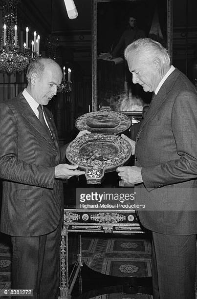 French President Valery Giscard d'Estaing receives Prince Louis Napoleon son of Prince Victor Napoleon at the Palais de l'Elysee The Prince gave the...