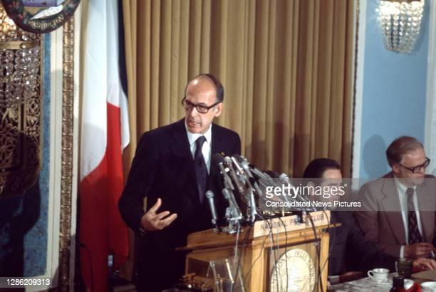 French President Valery Giscard d'Estaing speaks before a breakfast meeting at the National Press Club, Washington DC, May 20, 1976. He was in...