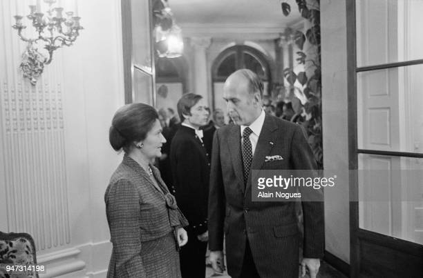 French President Valery Giscard d'Estaing with french Minister of Health Simone Veil in Bourgogne , 27th January 1978