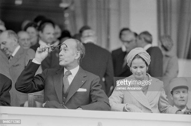 French President Valery Giscard d'Estaing with his wife AnneAymone attend Arc de Triomphe Prize at Longchamp racecourse in Paris 5th October 1975