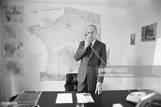 French president Valery Giscard d'Estaing works from his campaign headquarters in Paris. He is running for another term in the 1981 French...