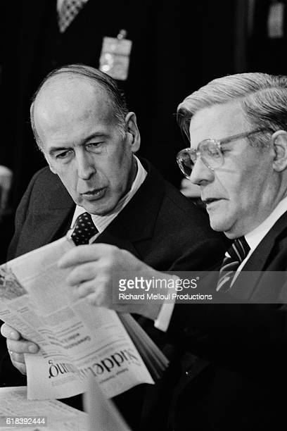 French President Valéry Giscard d'Estaing and Chancellor of Germany Helmut Schmidt during the 1978 European Council in Brussels.