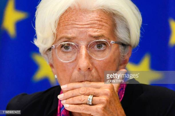 French Presidentdesignate of the European Central Bank Christine Lagarde reacts during a meeting prior's to attend a European Parliament's Committee...