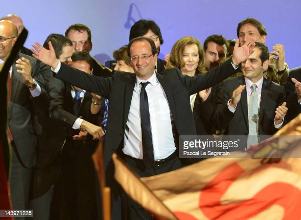 French President-Elect Francois Hollande acknowledges his supporters at Place de la Bastille after victory in the French Presidential Elections on...