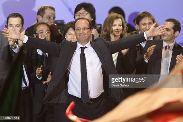French PresidentElect Francois Hollande greets thousands of gathered supporters at Place de la Bastille after victory in French Presidential...