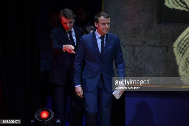 French Presidential Candidate Emmanuel Macron arrives to a conference with French Mayors at Maison de la Radio on March 22 2017 in Paris France The...