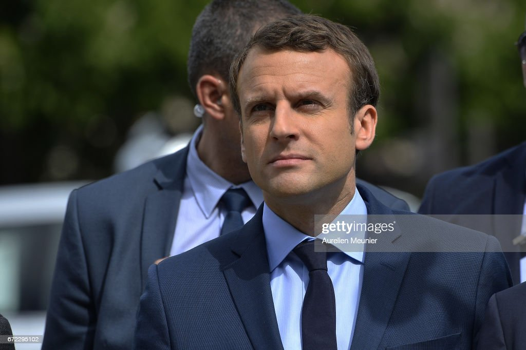 French Presidential Candidate Emmanuel Macron Deposits  a Sheat To Commemorate the 102nd anniversary of The Armenian Genocide : News Photo